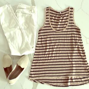 Beige & navy stripe soft tank top